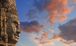 Ancient stone faces of king Jayavarman VII at The Bayon temple, Stock Photography