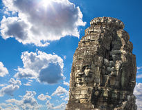 Ancient stone faces of king Jayavarman VII at The Bayon temple, Royalty Free Stock Image