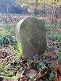 Ancient stone in the forest. Käfertalerwald (Kaefertal forest), Mannheim, Deutschland (Germany), 31 October 2014 stock photo