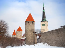 Ancient stone fortress and tall cathedral Stock Image