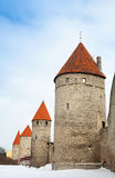 Ancient stone fortress towers in Tallinn Stock Photos