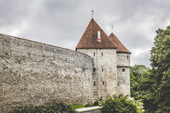 Ancient stone fortress walls with towers. Tallinn, Estonia Royalty Free Stock Images