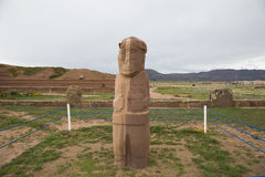 Ancient Stone Fraile Monolith in Tiwanaku stock photos