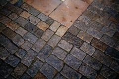 Ancient cobblestone pavement stock photo