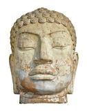 Ancient stone head artifact. Close up of the face of an ancient stone head artifact royalty free stock photo
