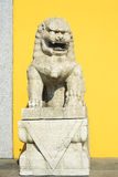 The Ancient stone lion of Chinese temple Royalty Free Stock Image