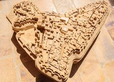 Ancient stone made map of Golden Fort of Jaisalmer, Rajasthan In Royalty Free Stock Images