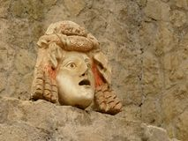 Ancient stone mask at Herculaneum, Italy Royalty Free Stock Photo