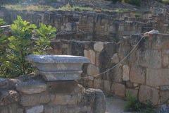 Ancient stone masonry in the shade closeup Stock Photos
