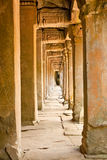 Ancient stone passage of  Ta Prohm Temple complex, Cambodia. Royalty Free Stock Image