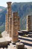 Ancient stone pillars. Ruins of Apollo's temple located on ancient Delphi oracle in Greece mountains stock photos