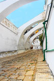 Ancient stone road to Uspensky cathedral in Kiev-Pechersk lavra Royalty Free Stock Photos