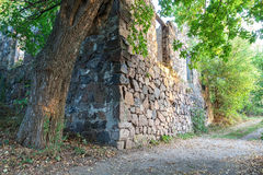 The ancient stone ruined house in the woods Royalty Free Stock Photography