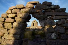 Ancient stone ruins on a beautiful day stock images