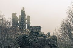 Ancient stone ruins of a fort at Vizzavona in Corsica Stock Photography