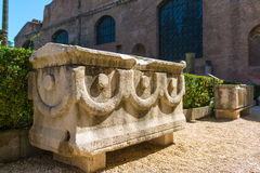 Ancient stone sarcophagus in the ruins of the Baths of Diocletia Royalty Free Stock Image