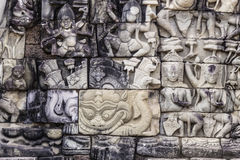Ancient stone sculpture in Angkor Wat. Cambodia. Stock Image