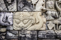 Ancient stone sculpture in Angkor Wat. Cambodia. Royalty Free Stock Photo