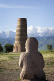 Ancient stone sculptures near Old Burana tower located on famous. Silk road, Kyrgyzstan Royalty Free Stock Images