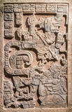 Mayan Stone art Slab from 770 AD. An ancient Stone slab from the Maya empire, 770 AD. Called Lintel, from the Yaxchilan Structure. This lintel depicts the vision stock photo