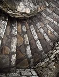 An ancient stone spiral staircase, France, from above royalty free stock images