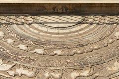 Ancient stone staircase decoration in Anuradhapura, Sri Lanka. Royalty Free Stock Images