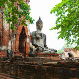 Ancient stone statue of Buddha in ruins of a Buddhist temple. Th Stock Photos