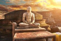 Statue of a meditating Buddha, Vatadage, Polonnaruwa, Sri Lanka stock images