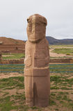 Ancient Stone Statue of a priest in Tiwanaku, Bolivia. Ancient Stone Statue of a priest - Fraile Monolith in famous Tiwanaku Archaeological site, Kalasasaya royalty free stock photography