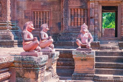 Ancient stone statues in Angkor Wat, Cambodia Stock Photos