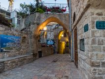 Ancient stone street in Old Jaffa, Israel royalty free stock images