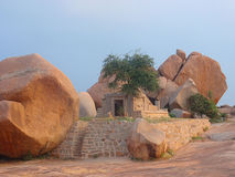 Ancient stone temple in hampi. India royalty free stock photography