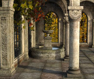 Ancient stone terrace. 3d render of an ancient stone terrace with fountain surrounded with red and yellow autumn maples Stock Photo