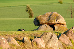 Ancient stone tomb. On the island Langeland, Denmark. The tomb is known as King Humbles Grav Stock Photo