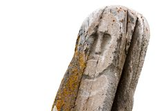 Ancient stone idol isolated white Stock Photo