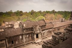 Ancient stone wall, Angkor Wat, Cambodia Royalty Free Stock Photo