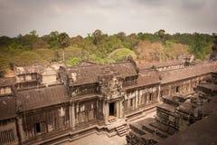 Ancient stone wall, Angkor Wat, Cambodia Royalty Free Stock Photo