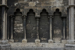 The ancient stone wall of cathedral in Halberstadt, Germany.  royalty free stock photos