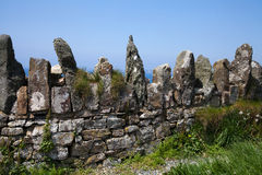 Old Stone Wall. Ancient stone wall at Druidstone above the Pembrokeshire coastline stock image