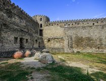 Ancient stone wall of fort stock photo