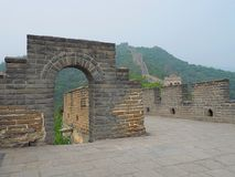 Ancient stone wall. A fragment of the Chinese wall of an ancient defensive structure surrounding the border of China royalty free stock photos