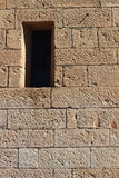 Ancient stone wall in Italy. Stone wall  and window in Italy Royalty Free Stock Photo