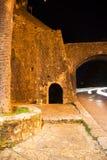 Stone wall at night in Herceg Novi Royalty Free Stock Images