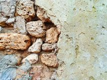 Ancient stone wall old repair Royalty Free Stock Photo