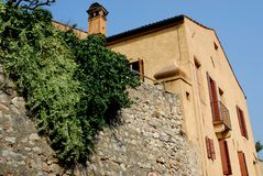 Ancient stone walls of a home in Arquà Petrarca Veneto Italy Royalty Free Stock Photography