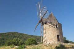 Ancient stone windmill (Horizontally) Royalty Free Stock Photo