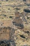 Ancient stone windmills Lassithi area, island Crete, Greece stock images