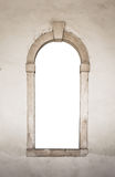 Ancient stone window white isolated Royalty Free Stock Photography
