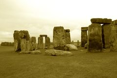 Ancient Stonehenge. In antique appearing sepia tone royalty free stock image