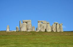 Ancient Stonehenge in England. Under a clear blue sky Royalty Free Stock Photo